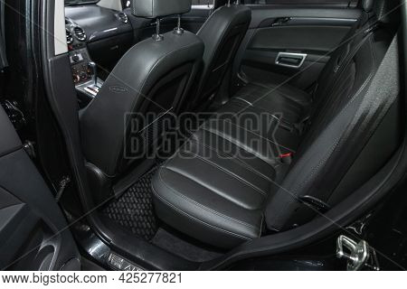 Novosibirsk, Russia - June 22, 2021: Opel Antara, Comfort Car Inside. Clean Car Interior: Black Back