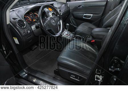 Novosibirsk, Russia - June 22, 2021: Opel Antara, Car Interior - Steering Wheel, Shift Lever And Das