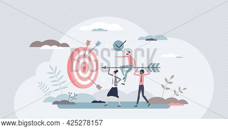 Aim To Target As Business Teamwork Effort And Goal Focus Tiny Person Concept. Company Growth And Suc