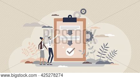 Procedure As Work Flow Process Steps Scheme Document Tiny Person Concept. Strategy And Task Checklis