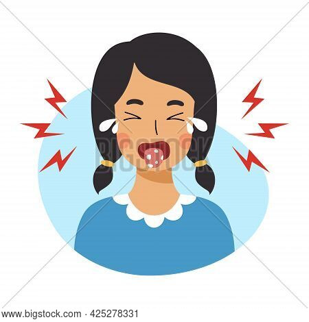 Girl With Stomatitis On Her Tongue. Baby Is Crying Because Of  Oral Disease. Skin Lesions With Fungu