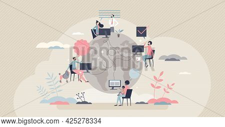 Remote Work With Distant Employee Network In Internet Tiny Person Concept. Company Virtual Meeting,