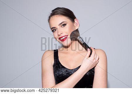 Beauty Portrait Of Beautiful Female Model. Beautiful Brunette Caucasian Young Woman Prepare Herself,