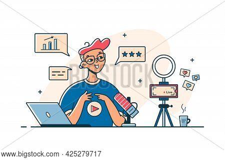 Guy Recording Vlog Video On Camera Vector Illustration. Man Talk Live On Digital Device Flat Style.