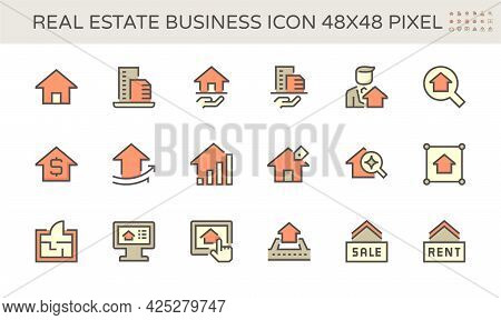 Home Or House Building Vector Icon. That Real Estate, Property Or Realty. Include Agent, Realtor Or