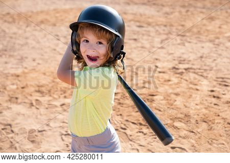 Kid Holding A Baseball Bat. Pitcher Child About To Throw In Youth Baseball.