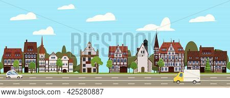 City Landscape Seamless Horizontal Illustration. Cityscape Historical Center, Suburban Houses, Downt