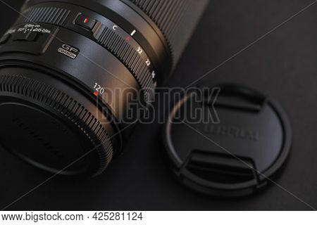 Tambov, Russian Federation - June 28, 2021 Fujifilm Fujinon Gf 120mm F/4 R Lm Ois Wr Macro Lens On A