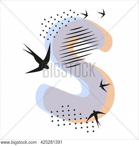 Minimalistic Pattern An Oriental Style In Form Of Letter S. Flock Of Swallows Flies. Abstract Object