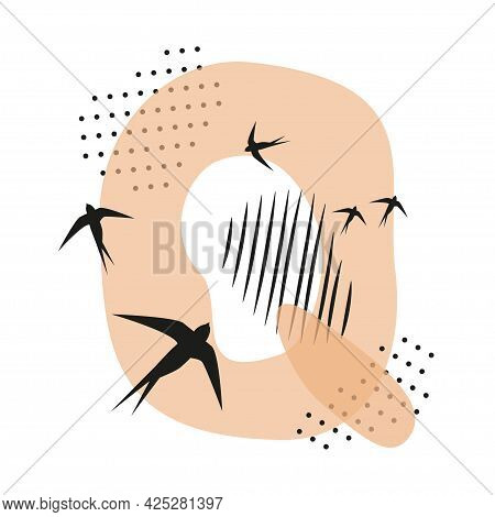 Minimalistic Pattern An Oriental Style In Form Of Letter Q. Flock Of Swallows Flies. Abstract Object