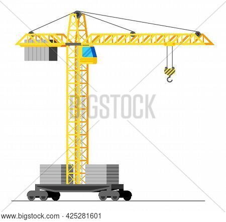 Construction Tower Crane Isolated On White. Yellow Tower Crane With Cabin. House Building Machine. H