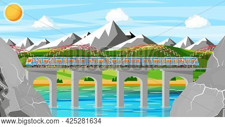Train And Landscape With Mountain. Super Streamlined Train. Passenger Express Railway Locomotive. Mo