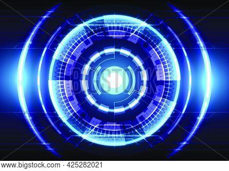 Blue light effect. Abstract hi-tech background. Futuristic interface. Virtual reality technology screen