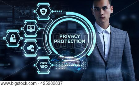 Cyber Security Data Protection Business Technology Privacy Concept. Young Businessman Select The Wor