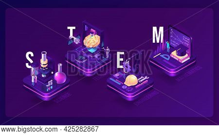 Stem Isometric Concept, Science, Technology, Engineering And Mathematics Research. Scientific Labora