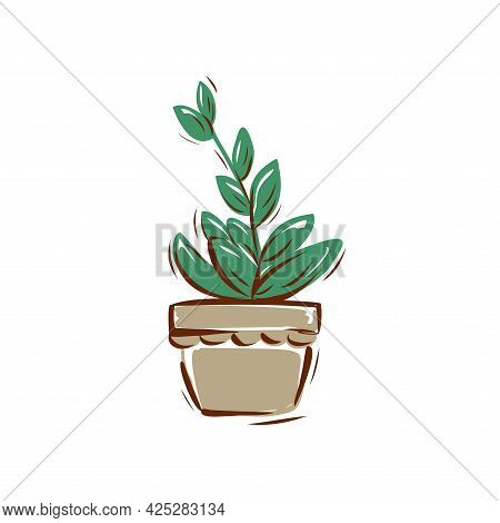 A Flower In A Pot On A White Background. Hand-drawn Vector Illustration.