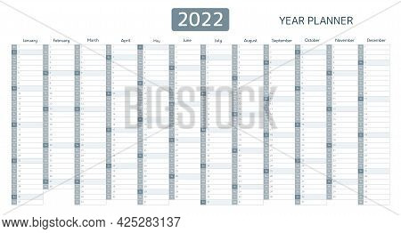 2022 Year Planner, Calendar With Monthly Vertical Grid. Template Planner For Schedule, Events And Ho