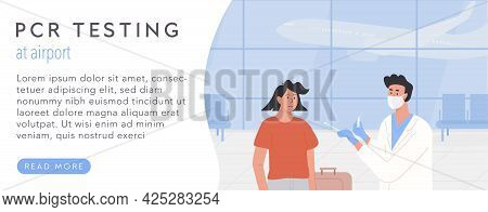 Pcr Testing At Airport Web Banner Template. Concept Of Travelling With Fit To Fly Certificate. Covid