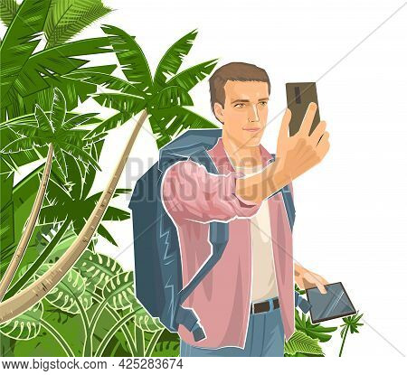 Selfie. Cute Boy Tourist With Smartphone And Tablet. Backpack. Against The Background Of The Landsca