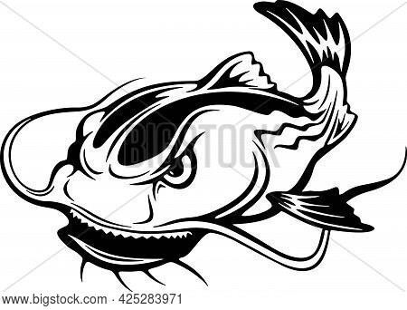 Catfish, Monster Fish - Stylized Fish, Fishing Logo. Template Club Emblem. Fishing Theme Vector Illu