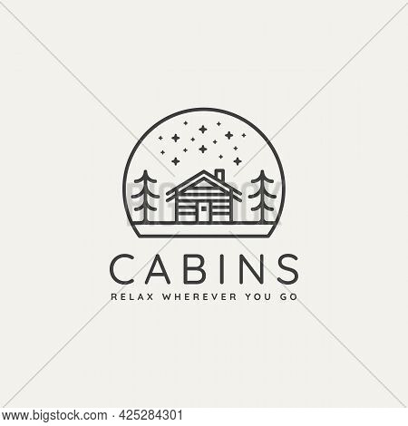 Winter Wooden Cabin Minimalist Line Art Badge Logo Template Vector Illustration Design. Simple Minim