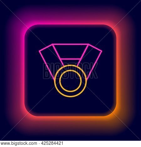 Glowing Neon Line Medal Icon Isolated On Black Background. Winner Achievement Sign. Award Medal. Col