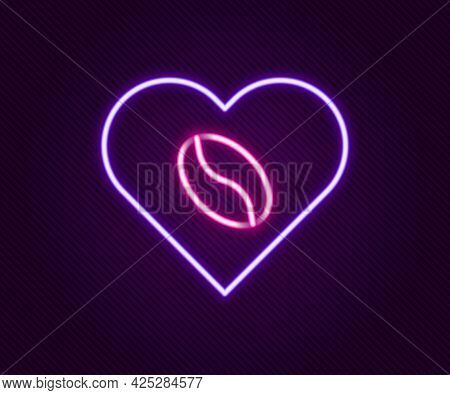 Glowing Neon Line Coffee Lovers Icon Isolated On Black Background. I Love Coffee. Colorful Outline C