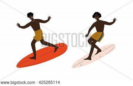 Man Surfer With Surfboard Riding On Moving Wave Vector Set