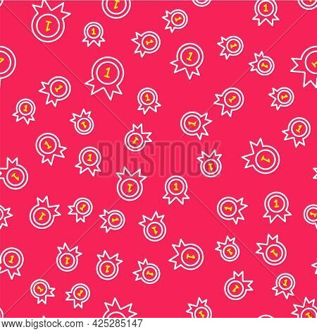 Line Medal Icon Isolated Seamless Pattern On Red Background. Winner Achievement Sign. Award Medal. V