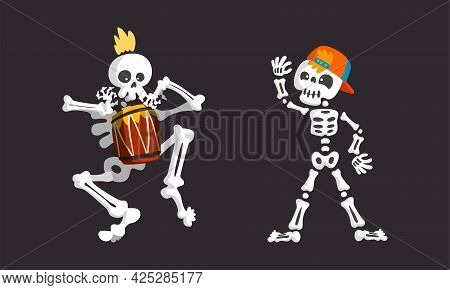 Bony Skeleton Character Waving Limb And Playing Drum Vector Set