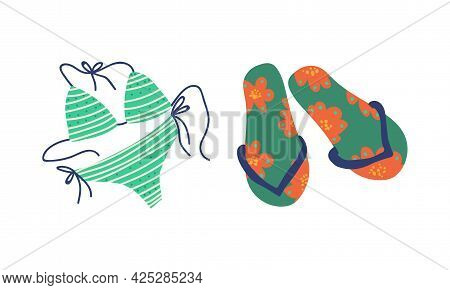Summer Holiday And Beach Resort Symbols With Flip Flops And Swimsuit Vector Set
