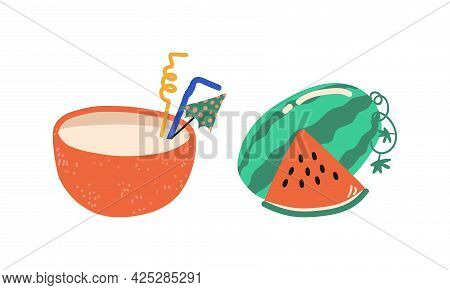 Summer Holiday And Beach Resort Symbols With Juicy Watermelon And Refreshing Cocktail Vector Set