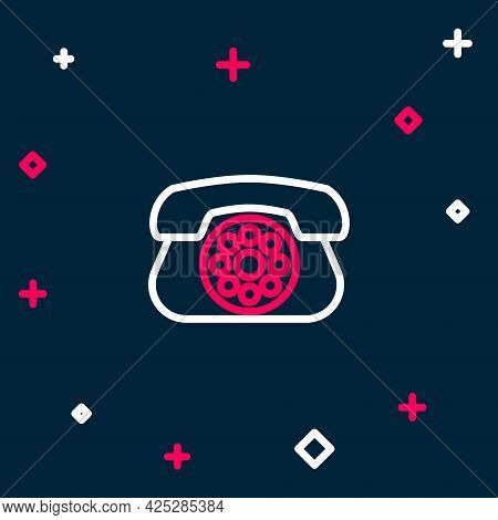 Line Telephone Icon Isolated On Blue Background. Landline Phone. Colorful Outline Concept. Vector
