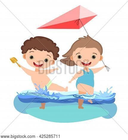 Girl And Boy Are Having Fun And Splashing In Water. Swimming, Diving And Water Sports. Pool Or Beach