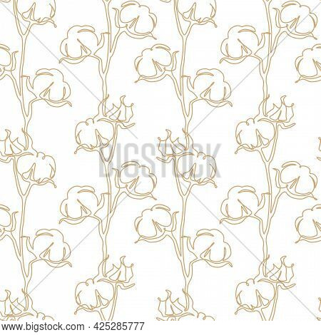Cotton Flower Seamless Pattern In One Continuous Line Drawing. Blossom Ball In Sketch Doodle Style.