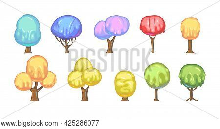 Set Of Fabulous Sweet Trees. For Landscapes With Multi-colored Caramel, Ice Cream Or Jelly. Perspira
