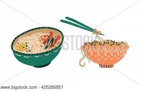 Stir-fried Prepared Udon Noodle Served In Ceramic Bowl Vector Set