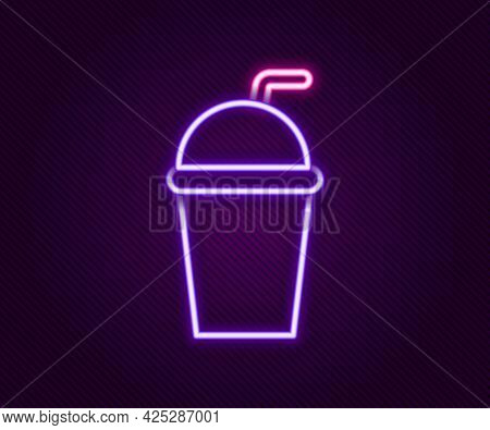Glowing Neon Line Paper Glass With Drinking Straw And Water Icon Isolated On Black Background. Soda