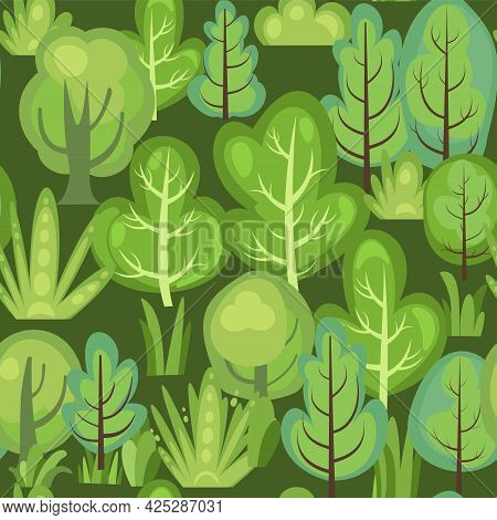 Flat Forest. Seamless Pattern. Illustration In A Simple Symbolic Style. Dark. Funny Green Landscape.