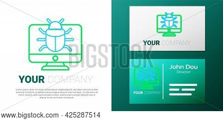Line System Bug On Monitor Icon Isolated On White Background. Code Bug Concept. Bug In The System. B