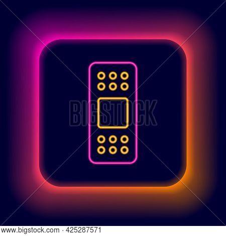 Glowing Neon Line Bandage Plaster Icon Isolated On Black Background. Medical Plaster, Adhesive Banda
