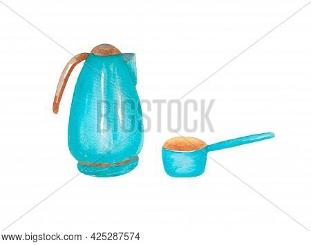 Electric Kettle And Ladle Isolated On White Background. Kitchen Utensils, Cooking Utensils. The Illu