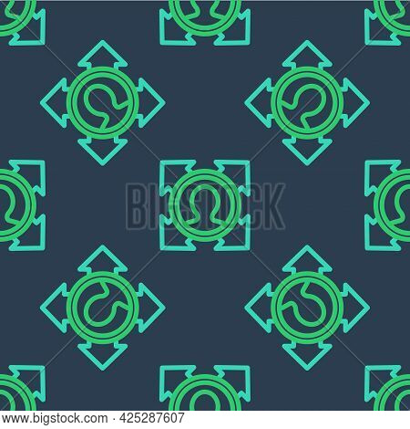Line Head Hunting Icon Isolated Seamless Pattern On Blue Background. Business Target Or Employment S