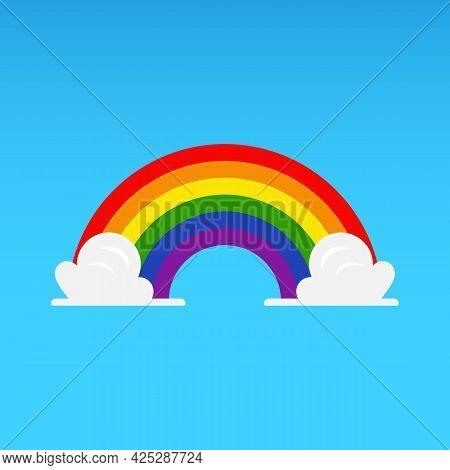 Rainbow With Cloud On Blue Sky. Vector Illustration