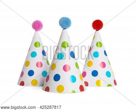 Bright Birthday Party Hats On White Background