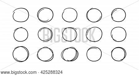 Hand Drawn Circles. Highlight Round Frames. Ovals In Doodle Style. Set Of Vector Illustration Isolat