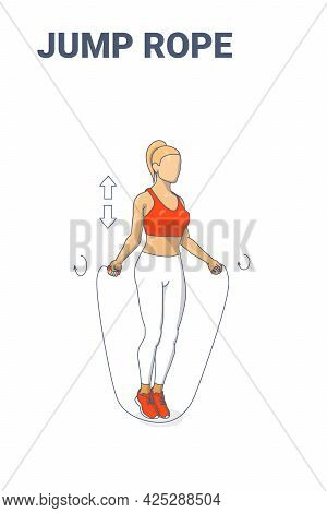 Girl Doing Jump Rope Exercise Fitness Home Workout Guidance Illustration. Woman Skipping Rope.
