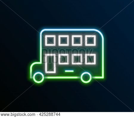 Glowing Neon Line Double Decker Bus Icon Isolated On Black Background. London Classic Passenger Bus.