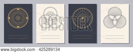 Set Of Flyers, Posters, Placards, Brochure Design Templates A6 Size With Geometric Icons. Interlocke