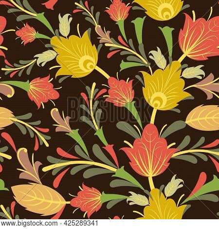 Summer Vegetable Seamless Pattern. Beautiful Ornament With Interlacing Branches And Flowers On A Dar